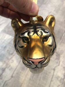 Blown Glass Tiger Head Christmas Ornament NWT