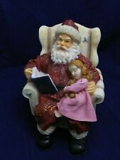 Christmas VINTAGE LITTLE GIRL ON SANTA LAP CHAIR FIGURINE Polyresin