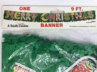 Beistle Merry Christmas Banner Fringe 9ft Wall Window Decorations Vintage 1987