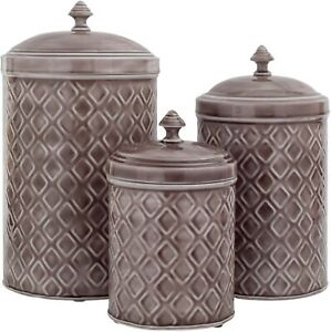 SET OF 3 GREY EMBOSSED METAL CANISTERS LARGE/MEDIUM/SMALL