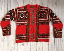 Vintage Nordstrikk  Norwegian Red Wool Sweater with Pewter Clasps