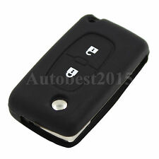 For Peugeot 307 407 207 107 Silicone Remote Key Case Cover Fob 2 Button Black