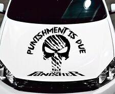 "PUNISHER SKULL TRIBAL DESIGN ""PUNISHMENT IS DUE"" VINYL DECAL HOOD SIDE CAR TRUCK"