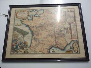 gravure ancienne carte de France encadrée