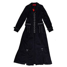Tripp NYC Gothic Goth Punk Lace Up Womens Black Trench Coat Trenchcoat Size M