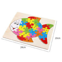 Wooden Puzzle Alphabet ABC Toys Jigsaw kids Fun Educational Learning Fish Shape