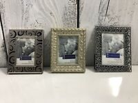 Lot 3 Pewter Colored Metal Connoisseur Picture Frames Tabletop Easel 4 x 6 New