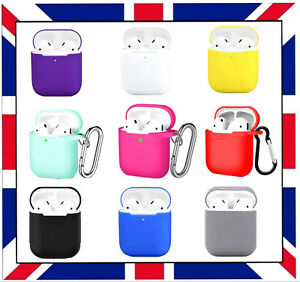 AIRPOD 1 & 2 , I & II CASE SILICONE PROTECTIVE WITH KEYCHAIN, UK SELLER