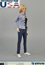 "1/6 Plaid Shirt Tank Top Jeans Set For 12"" PHICEN Hot Toys Female Figure U.S.A."