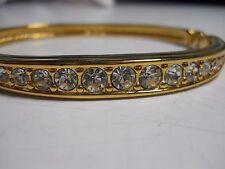 Swarovski signed SWAN LOGO clear Crystal gold plate hinged Bracelet Bangle Cuff