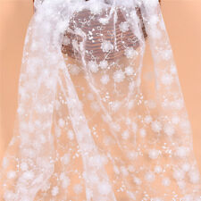 1yd White Flower Embroidered Lace Fabric DIY Dress Skirt Making Accessories