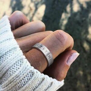 Viking Vikings Norse Nordic Stainless Steel Runes Rune Mens Womens Silver Ring