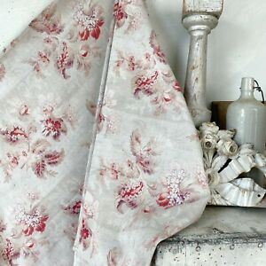 French floral cretonne antique cotton fabric greige gray red pink fabric flower