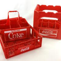 Lot 3 Coca Cola Plastic Crates Vintage Coke Family Pack Carrier Beverage Caddy