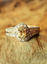 Turkish Diaspore (Csarite), White Zircon Ring (Size 7) 14K Yellow Gold OL S/S