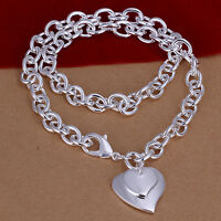WOMEN GIRLS 925 STERLING SILVER Filled Double Heart Necklace Heart Pendants N342