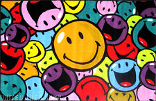 """3x5  Rug  Happy Face  Faces & Laughs  Smiley  Fun Time  M & M   3'3""""x4'10"""""""