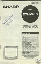 SHARP Television factory Operation OWNERS MANUAL for 27H-S60 TV printed 5822 ME