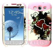 KoolKase Hybrid Silicone Cover Case for Samsung Galaxy S3 - Heart Flower