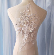 Beaded Bridal Lace Applique Embroidery Corded Motif Pearl Wedding Dress Trim 1PC
