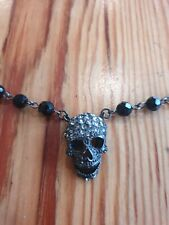 Butler and Wilson Pewter Crystal Skull Short Beaded Rosary Necklace