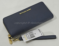 Michael Kors Jet Set Travel Continental Saffiano Leather Wallet in Navy Blue