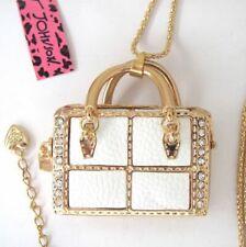 Betsey Johnson crystal White leather decorate Handbag pendant Necklace