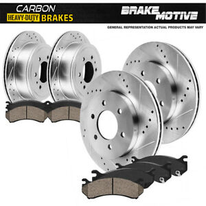 For 2009 Ford F150 XL XLT Lariat Front + Rear Brake Rotors & Carbon Ceramic Pads