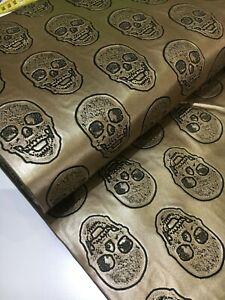 0,50m Kunstleder Totenkopf gold Taschen Leder Skull Imitat Lederimitat KT165