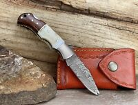 """Damascus Steel Folding Pocket Knife 6.5"""" Stag Antler Handle With Leather Sheath"""