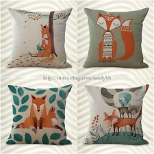 US Seller-set of 4 outdoor throw pillow covers cushion covers cartoon fox animal