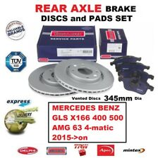 FOR MERCEDES BENZ GLS X166 400 500 AMG 63 4-matic 2015-> REAR BRAKE PADS + DISCS