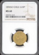 Chile 1896-SO Gold 10 Pesos NGC MS60
