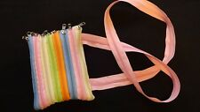"ZIPPER PURSE Made of 8 Zippers Sherbert Colors 5"" X 7"" w/ Zipper Strap         B"