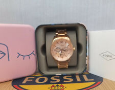 FOSSIL ladies Justine Multifunction Rose Gold-Tone Stainless Steel BNWB RRP £139