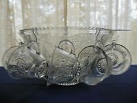 Indiana Glass Clear Princess Harvest Grape 26 piece Punch Bowl & Cup Set