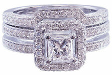 14K WHITE GOLD PRINCESS DIAMOND ENGAGEMENT RING AND BAND BRIDAL SET HALO 1.75CT