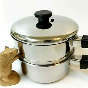 Arcosteel 2L S/Steel Saucepan Pot, Steamer & Lid (3pc) Copper Lined Base