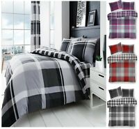 Luxury WAVERLY CHECK Printed Reversable Duvet Cover+Pillow Case Bed Set All Size