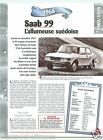 Saab 99 Coupe 4 Cyl. 1968 Sweden Suede Car Auto Retro FICHE FRANCE