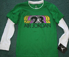 NWT Nike Air Jordan Boys 6 Green/White Long Sleeve #23 Basketball Shirt Size 6