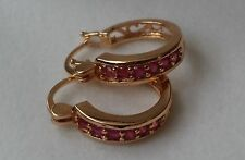 Classy Real 18ct Yellow Gold Filled Red Rubies Hoop Earrings