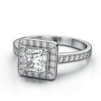 White Gold Plated Princess Cut Square Wedding Bridal Ring Women Ring Size 6 R3