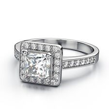 White Gold Plated Princess Cut Square Wedding Bridal Ring Women Ring Size 5 R3