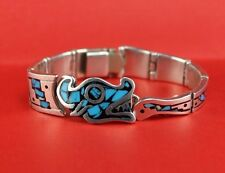 """Vintage Mexico Sterling Silver & Turquoise Inlay AZTEC DRAGON Motif Bracelet 7""""L"""