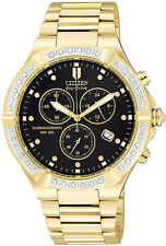 New Citizen Men's Watch AT0512-53e 36 Diamonds RIVA Chrono WR100 Eco-Drive 5yrWT