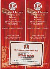 Leyton Orient 2013-14 originale firmato a mano grandi premi menu & BIGLIETTO 25 x Sigs