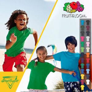 Kids Plain T-Shirt Boys Girls Cotton Fruit Of The Loom Childrens Shirt Age 1-15