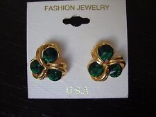 Vintage Quality Fashion Jewelry Emerald Green Tri-Sparkler Earrings from 1980s