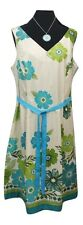 M&CO Dress Size 20 Blue Green Beige Floral NEW w/TAG L42 Summer Holiday Wedding